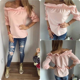 LA Fashion District LLC Pink / L Off Shoulder Slash Neck Ruffles Women Blouses Fashion Solid Half Sleeve Tops