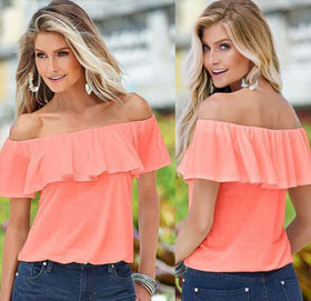 LA Fashion District LLC Pink / S Chiffon Off Shoulder Flouncing Shirt Tops Sexy Blouse