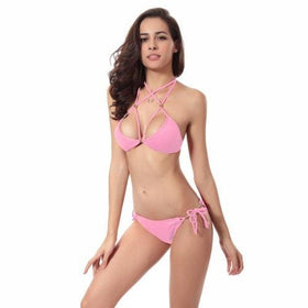 LA Fashion District LLC Pink / S Halter Bikini Brazilian Swimwear Swimsuit Beach Wear Bathing Suit Triangle Bikini Set