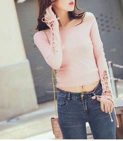LA Fashion District LLC pink / S Off shoulder lace up sleeve crop top autumn t shirts tops fashion clothing solid slim short t-shirt