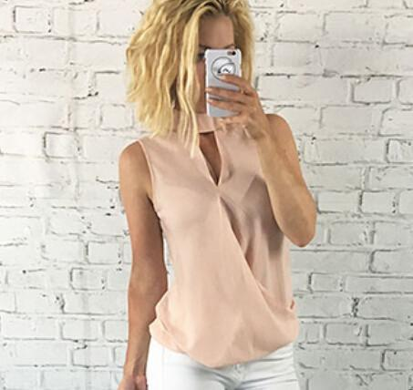 LA Fashion District LLC Pink / S Womens Slim Casual Chiffon Blouse Sleeveless Shirt