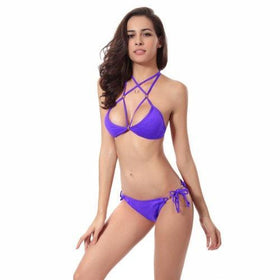 LA Fashion District LLC Purple / S Halter Bikini Brazilian Swimwear Swimsuit Beach Wear Bathing Suit Triangle Bikini Set