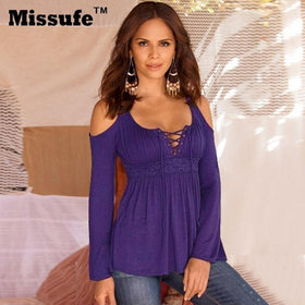 LA Fashion District LLC Purple / XXL Missufe 6 Colors S-5XL Plus Size Tops Patchwork Flare Sleeve Shirts Lace Up Off Shoulder Blusas