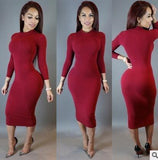 LA Fashion District LLC Red AA / S Long Sleeve Midi Pencil Bodycon Self Portrait Party Dresses Plus Size USASTC