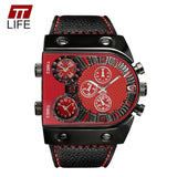 LA Fashion District LLC Red Mens Watches Top Brand Luxury Leather Strap Mens Watch Sports Multi Time Zone Quartz Male