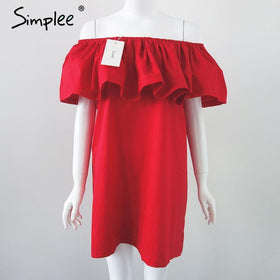 LA Fashion District LLC Red / One Size Ruffles slash neck women dress Summer style off shoulder dresses vestidos White tube