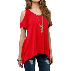 la-fashion-district-llc Red / S Off Shoulder Tops For Women Summer Short Sleeve Shirt Womens Tops Fashion