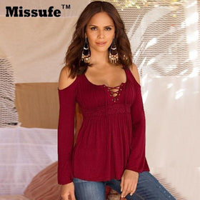 LA Fashion District LLC Red / XXL Missufe 6 Colors S-5XL Plus Size Tops Patchwork Flare Sleeve Shirts Lace Up Off Shoulder Blusas
