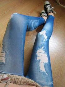 la-fashion-district-llc Retro Punk Women Girls Pants Slim Flange Hole Wash Jean Denim Ripped Leggings Newest