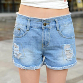 la-fashion-district-llc Ripped Women's Jeans Shorts Summer Style Hole Denim Shorts Washes Fashion Hot Shorts