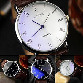 la-fashion-district-llc Roman Numerals Blu-Ray Faux Leather Band Quartz Analog Business Watch 6JJZ