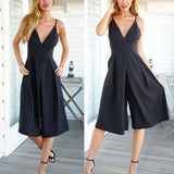 LA Fashion District LLC Rompers Women Suit Black Cotton Jumpsuit Backless Halter Leg Jumpsuit Larga Elegant