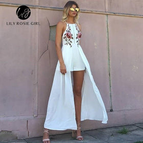 la-fashion-district-llc Rose Embroidery Playsuits Women Strap Off Shoulder Party