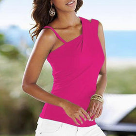 LA Fashion District LLC Rose / M European Fashion Blouses Ladies Casual Stretch Solid Blouse Slim Tops Off Shoulder Sleeveless