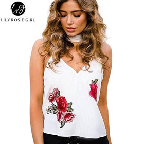 la-fashion-district-llc Rosel Embroidery Cami Sexy Satin Tops Off Shoulder Strap V Neck Short Women