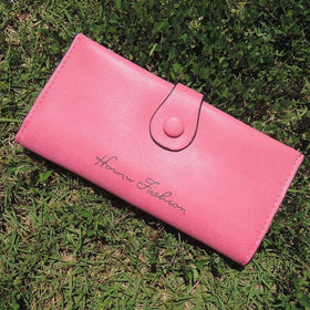 LA Fashion District LLC Rosered Wallet Pu Leather Purse for Woman Solid Color Casual Hasp Long High Quality Lady Purse