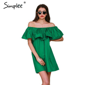 LA Fashion District LLC Ruffles slash neck women dress Summer style off shoulder dresses vestidos White tube