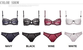 LA Fashion District LLC Set Ultra-Thin Transparent Lace Bra Bow Women Underwear Set Lingerie