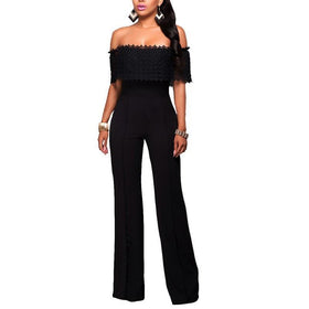 LA Fashion District LLC ShejoinSheenjoy Out Off Shoulder Jumpsuit Long Sleeve Sexy Bodycon Jumpsuit Skinny Plus Size