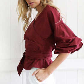 LA Fashion District LLC Short Casual Tops Bow Lace Up Sexy V-neck Off Shoulder Puff Sleeve Blouses Shirts C45