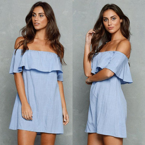 LA Fashion District LLC Short Sleeve Off The Shoulder Strapless Ruffle Mini Dress Top