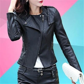 la-fashion-district-llc Short Washed PU Leather Jacket Zipper Bright Colors New Ladies Basic Jackets