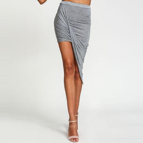 la-fashion-district-llc Skirt Hem Cross Fold Sexy Wrap Banded Waist Draped women skirt Cut Out Asymmetrical Pencil