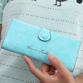 LA Fashion District LLC Sky Blue Wallet Pu Leather Purse for Woman Solid Color Casual Hasp Long High Quality Lady Purse
