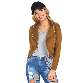 la-fashion-district-llc Slim Biker Motorcycle Faux Leather Jacket Women Zipper Leather Coat Women
