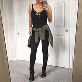 LA Fashion District LLC Strap Women Sexy Rompers Corset V Neck Club Skinny Women Basic Jumpsuits Women Bodysuits