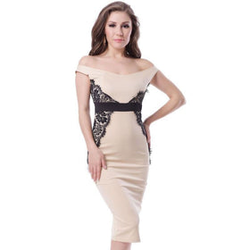 LA Fashion District LLC Strapless off shoulder slim bodycon pencil dress knee-length party black lace dress high waist