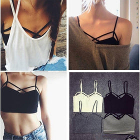 LA Fashion District LLC Strappy Padded Bra Bustier Bra Bralette Corset Crop Tops Tank Top Blouse Black White Cheap