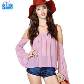 LA Fashion District LLC TideSource See-through Strapless Casual Chiffon Blouse Sweet off Shoulder Butterfly Sleeve