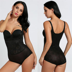 LA Fashion District LLC type 3 black / S Body Shaper Women Body Shaper 3/4 Cup Padded Undwire Bra Tummy Slim Underbust Corset Bodysuit USASTC