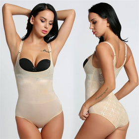 LA Fashion District LLC type 3 nude / S Body Shaper Women Body Shaper 3/4 Cup Padded Undwire Bra Tummy Slim Underbust Corset Bodysuit USASTC