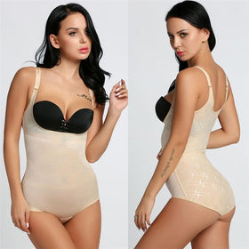 LA Fashion District LLC type 5 nude / S Body Shaper Women Body Shaper 3/4 Cup Padded Undwire Bra Tummy Slim Underbust Corset Bodysuit USASTC