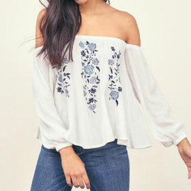 LA Fashion District LLC Vintage Floral Print Tops Long Sleeve Slash Neck Off Shoulder Chiffon Shirts
