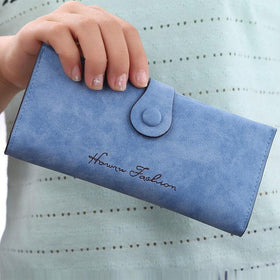 LA Fashion District LLC Wallet Pu Leather Purse for Woman Solid Color Casual Hasp Long High Quality Lady Purse