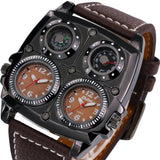 LA Fashion District LLC Watches Cool Sports Casual Quartz Wristwatch Leather Strap Oversize Military Compass Dial