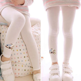 LA Fashion District LLC White / 3T Leggings Baby Kid Girl Bird Pattern Stretchy Pants Trousers