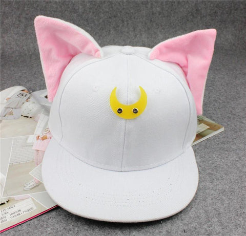 LA Fashion District LLC White Kitten Model Canvas Hip Hop Cap Flat Brim Hat Snap Back Baseball Caps For Woman Man