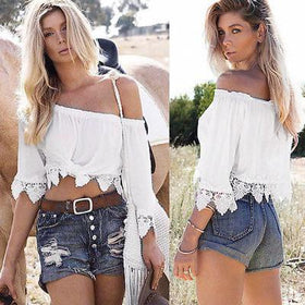 LA Fashion District LLC White / L Boho Lace Off Shoulder Shirt Summer Crop Tank Tops Blouse