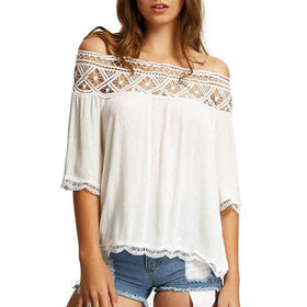 LA Fashion District LLC white / L Off Shoulder Blouses Casual Crochet Lace Halter Shirts Cotton Blouse Patchwork Tee W1