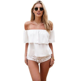 LA Fashion District LLC White / L Women Girl Off Shoulder Chiffon Boat Neck Casual Tops