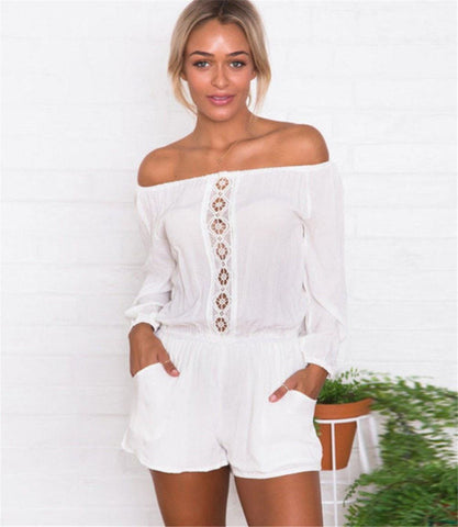 LA Fashion District LLC White / M Bodycon Off Shoulder Jumpsuit Party Playsuit Suit USASTOC