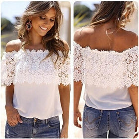 LA Fashion District LLC White Off Shoulder Casual Tops Blouse Lace Crochet Chiffon Shirt