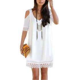 LA Fashion District LLC White / S CELMIAChiffon Dress V Neck Backless Off Shoulder Half Sleeve Lace Crochet