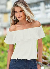 LA Fashion District LLC White / S Chiffon Off Shoulder Flouncing Shirt Tops Sexy Blouse