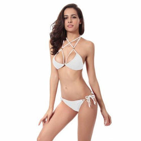 LA Fashion District LLC White / S Halter Bikini Brazilian Swimwear Swimsuit Beach Wear Bathing Suit Triangle Bikini Set