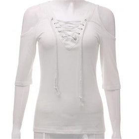 LA Fashion District LLC White / S Lace Up V neck Blouse Off Shoulder Half Sleeve Slim Summer Tops Plus Size White Gray Shirts